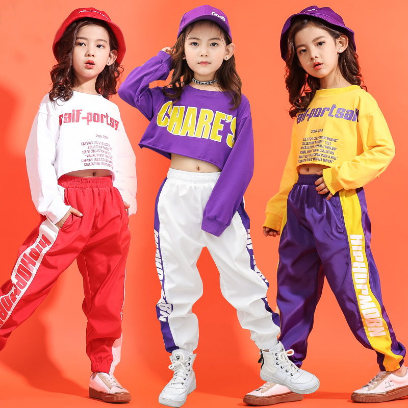 Children Hip Hop Clothes Kids Girls Jazz Street Dance Costume Spring Summer Sweatshirt Pants Set Ballroom Dancewear Stage Outfit