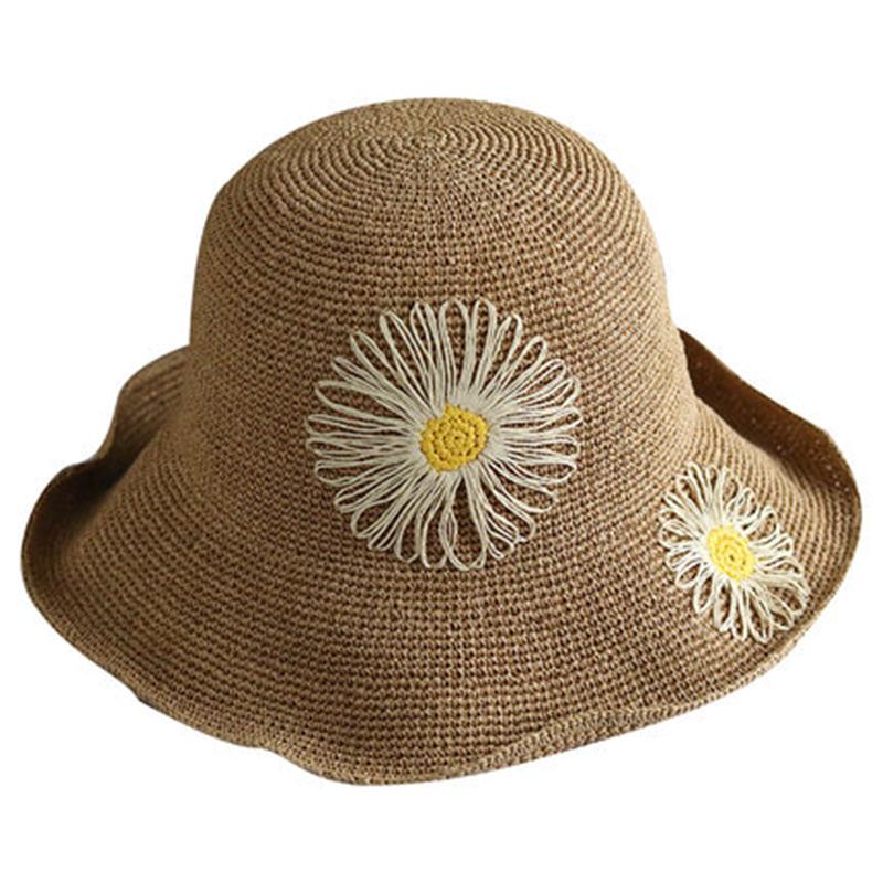 Cappello di paglia di estate del cappello femminile new sun visor viaggio selvaggio versione Coreana del fiore all'aperto della protezione del bacino protezione solare pieghevole DF