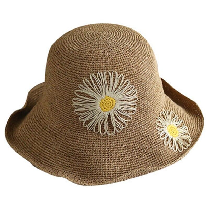 Sommer hut weibliche neue sonnenblende wilden reise stroh hut Koreanische version von die außen blume becken kappe sonnenschutz klapp DF