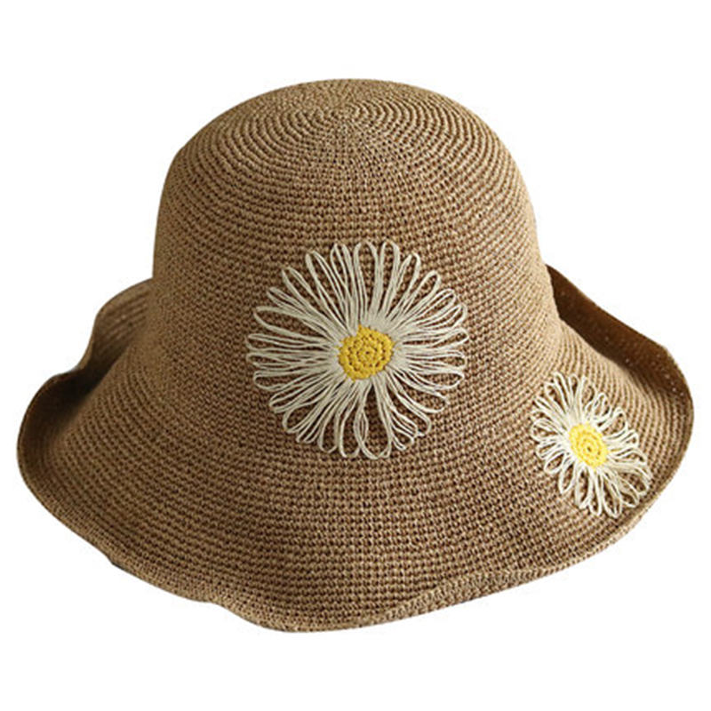Summer  hat female new sun visor wild travel straw hat Korean version of the outdoor flower basin cap sunscreen folding DF