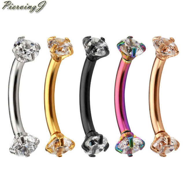 PiercingJ 16G Stainless Steel 3mm Clear Cubic Zirconia Internally Thread Curved Barbell Eyebrow Tragus Ring Piercing Jewelry