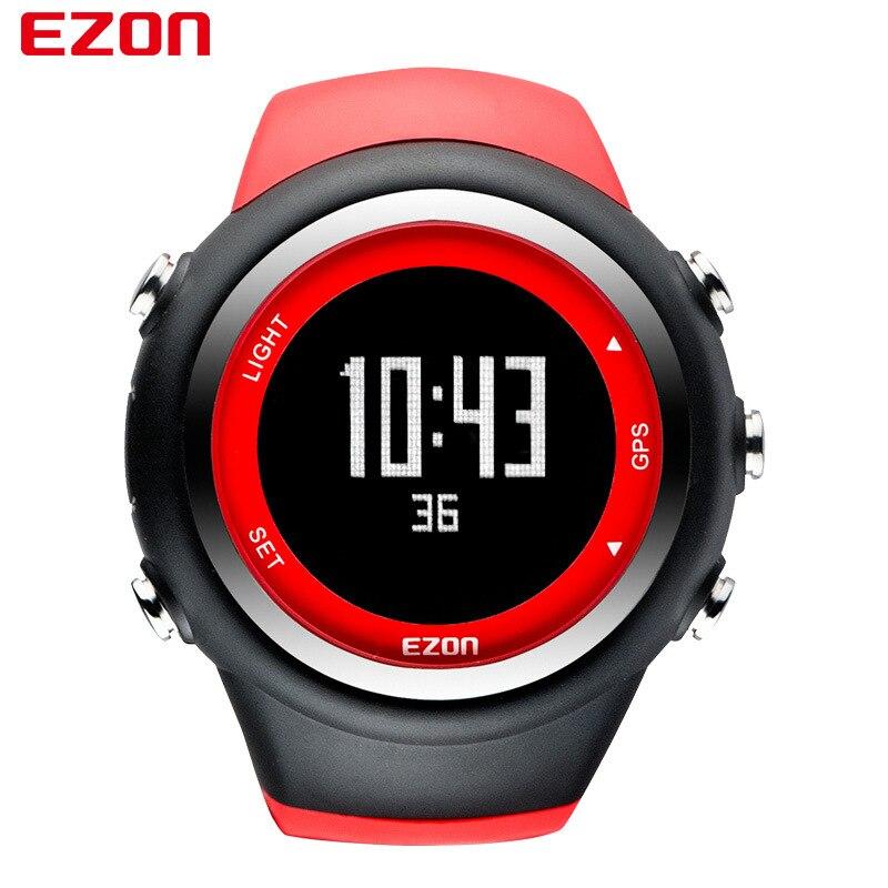 Ezon rouge Sports de plein air en cours d'exécution Gps montre numérique étanche 50 M alarme arrêt Fitness Sport montres-bracelets montre numérique femmes homme