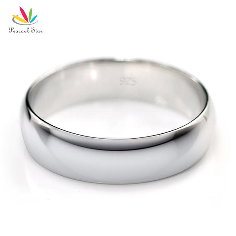 Peacock Star High Polished Men Solid 925 Sterling Silver Wedding Band Ring Jewelry CFR8053
