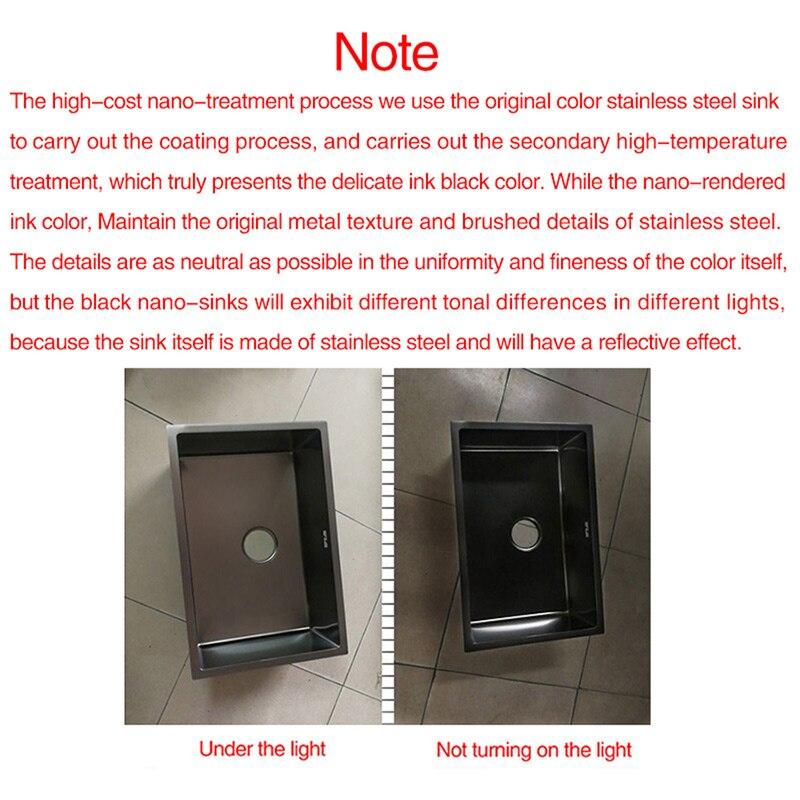 Évier de cuisine nanomètre antibactérien noir 304 en acier inoxydable simple évier de cuisine Drain panier et tuyau de vidange livraison gratuite - 6