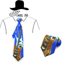 Brand New 4 Inches/10cm wide Funny Big Guitar Blue Pattern Necktie Polyester Woven Classic Men`s Party tie-Free Shipping free shipping children s scooter user age 2 5 years old 3 wheels blue pink