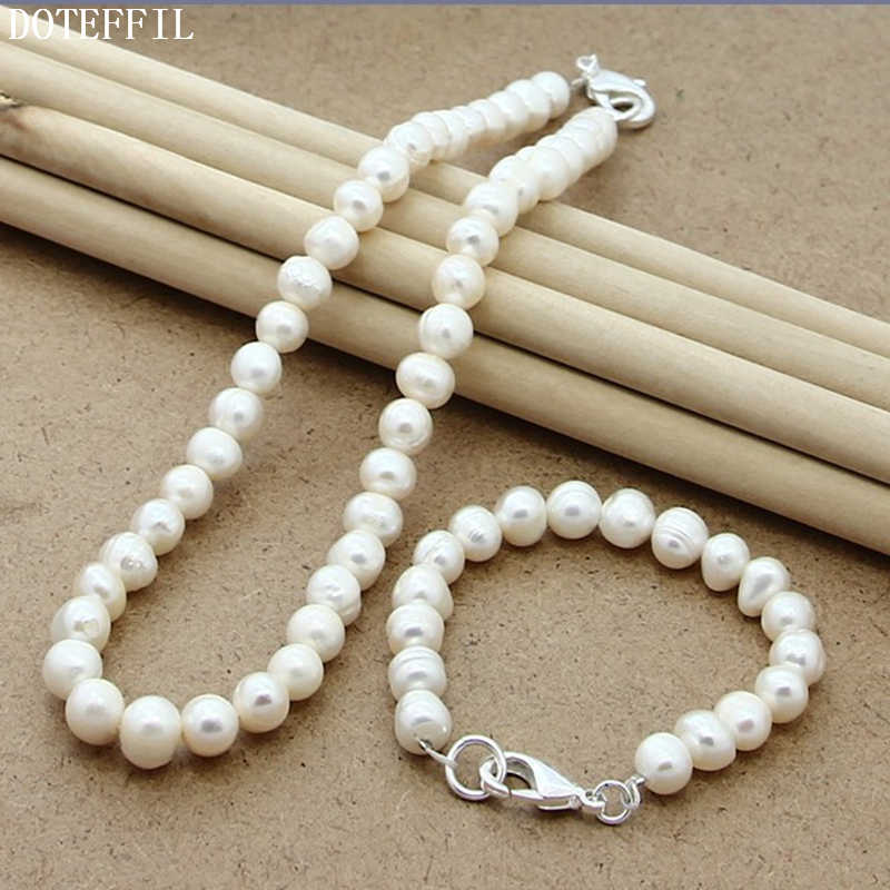 White Pearl 8mm Women Necklace Bracelet Jewelry Women 925 Silver Color Fashion Charm Necklace Bracelet Jewelry Set