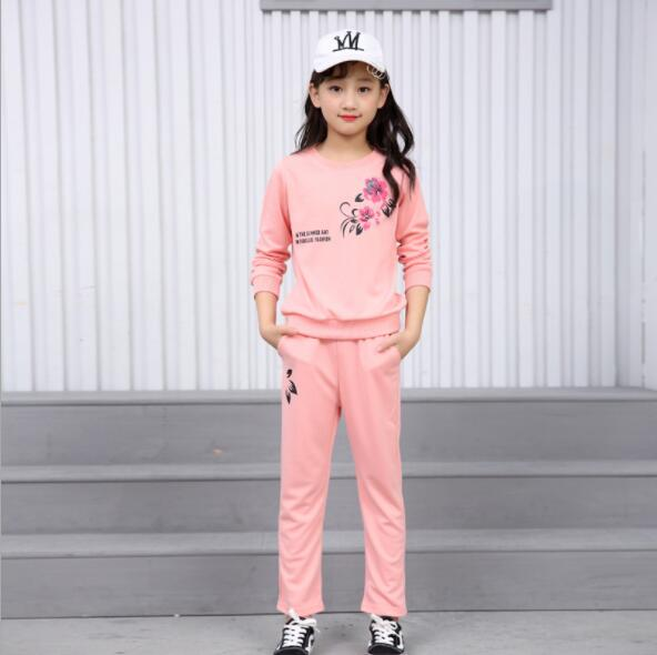2017 New Kids Clothes Summer  Flower Toddler Girls Clothes Set Cartoon embroidered Cotton Children Clothing Boutique Suit 4-12Y