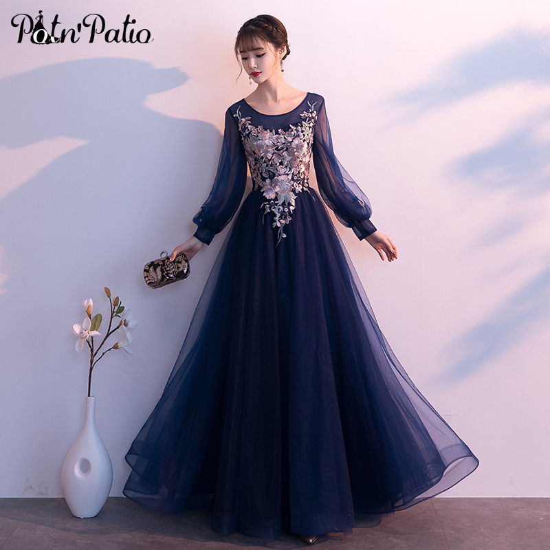 Navy Blue Long Sleeves Evening Gowns Plus Size 2019 New Luxury Appliques Ball Gown Tulle Long Formal Dresses
