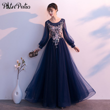 Navy Blue Long Sleeves Evening Gowns Plus Size 2019 New Luxury Appliques Ball Gown Tulle Formal Dresses