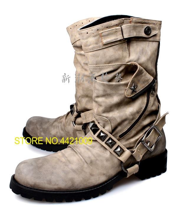 100% QualitäT Winter Männer Stiefel Cowboy Kampf Stiefel Leder High Top Military Schuhe Taktische Vintage Motorrad Stiefel Leder Oxfords Angemessener Preis