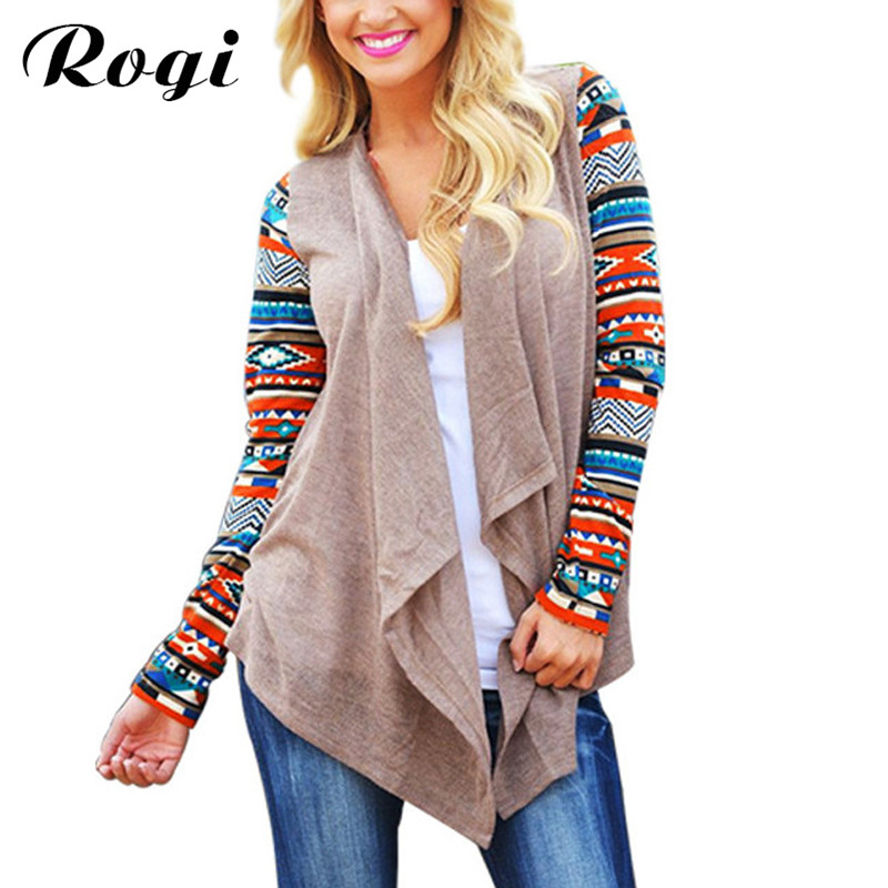 Women Long Cardigan 2016 Hot Sale Long Sleeve Knitted Poncho Sweater Casual Tribal Print Asymmetrical Cardigans Outwear Coat como vestir con sueter mujer