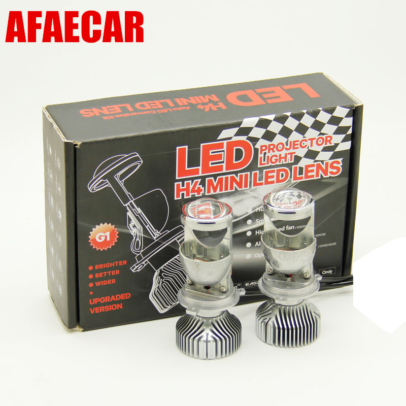 1 pair H4 LED MINI HEADLIGHT lens projector high low beam 35w H4 3 35w 5500K