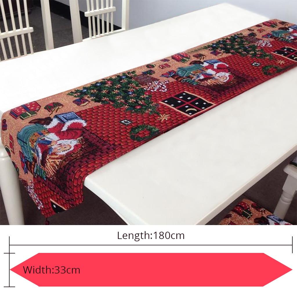 Año Nuevo Navidad Santa Claus bordado camino de mesa bandera hecha a ...
