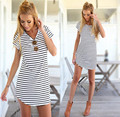 New 2016 Summer European style dresses t shirt women Long Design striped V-neck short-sleeved female vestidos Lady Tops S2084