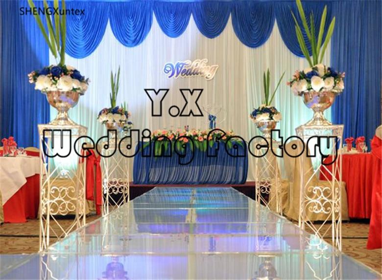 Livraison gratuite 10ft * 20ft beau rideau de toile de fond blanc avec fond de mariage bleu Royal Swag drapé