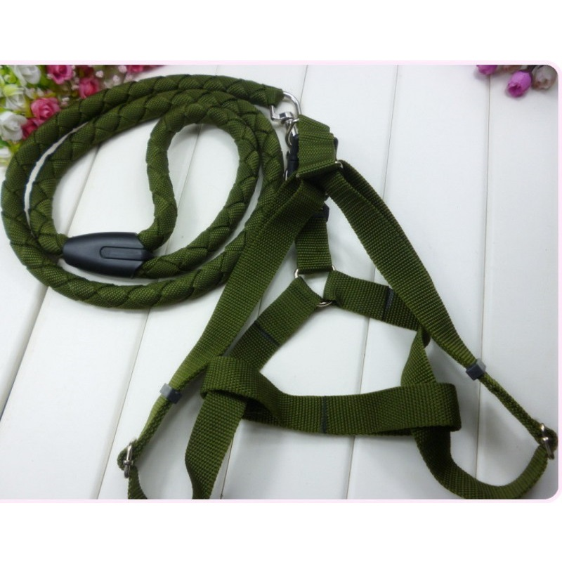 2016 Hot Army Green Pet Dog Harness 1.5CM Round Braided Collars Leash Dog Leashes Free Shipping
