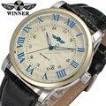 Relógio Dos Homens vencedor Moda Couro Strap Negócios Vestido Analógico relógio de Pulso Automático Cor Preta WRG8051M3T3