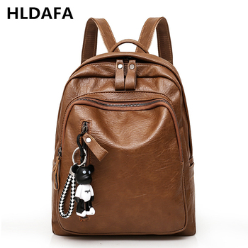 Woman New High Quality Leather Backpack Travel Fashion Female Backpack String Bags Large Capacity School Bag Mochila Feminina brand new women backpack large capacity computer bag fashion black bags high quality travel rucksack backpacks