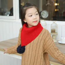 New Kids Winter Wool Collar Scarf For Children Knitted Collar With Ball Children's Scarves Neckerchief Clothing Accessories 2017
