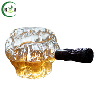 9x6x6 5cm High Quality Anti Scald Glass Tea Pot Gong Dao Cup With Malleolar Stria Wooden