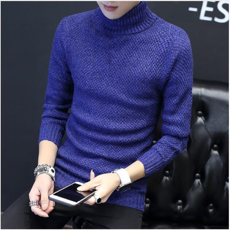 LEFT ROM 2019 Winter High Neck Thick Warm Sweater Men Turtleneck Mens Sweaters Slim Fit Pullover Men Knitwear Male Double Collar