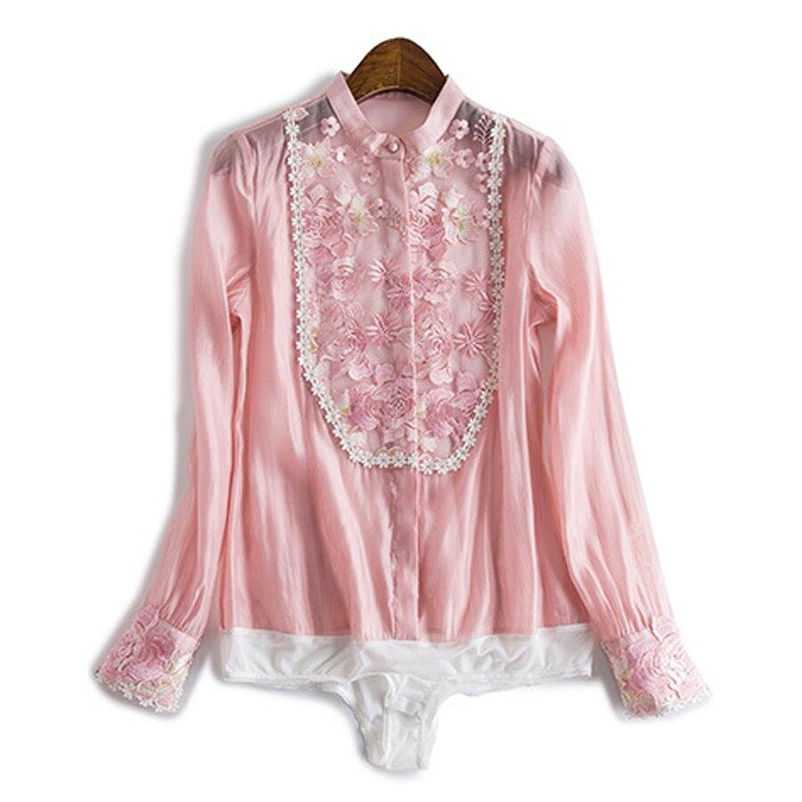 Womens Blusas Tops Spring Fashion Pink Beige Lantern Patch