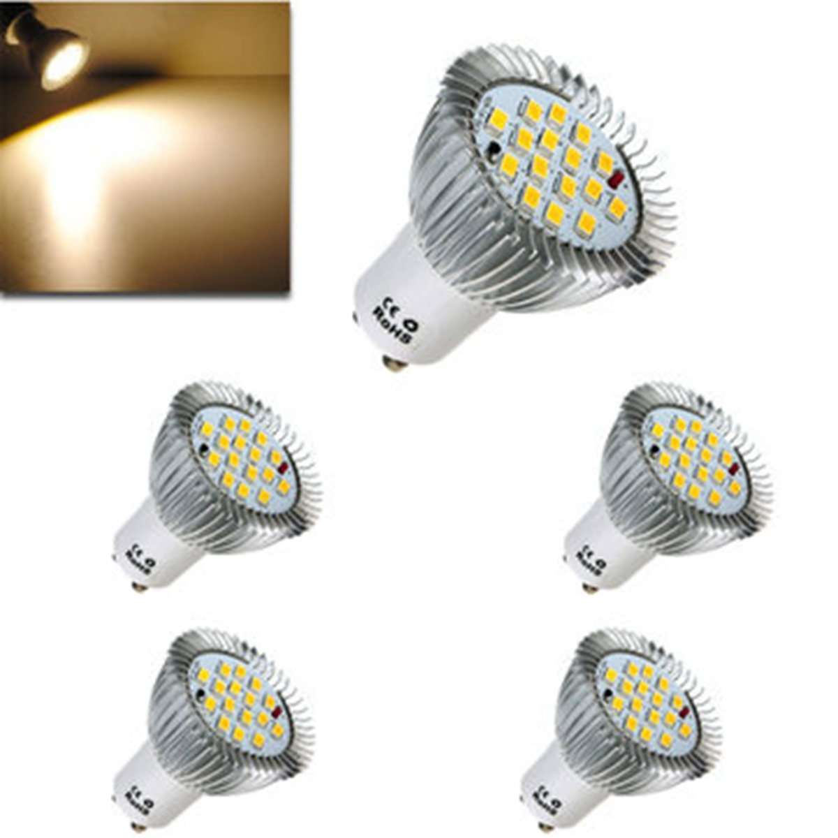 5x 6.4W LED Light Bulb GU10 16 LED 5630 SMD Energy Saving Lamp Bulb Spotlight Spot Lights Bulbs Warm White Lighting AC 85-265V