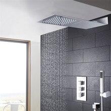 Ванная комната буксировочный душ душевой кран набор бар форма супер тонкий латунный корпус дождевая душевая головка и 3 регулирующего клапана душевой набор