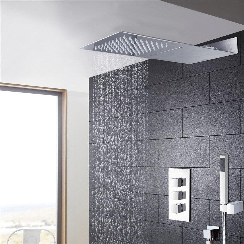 Salle de bains de remorquage façon de douche robinet de douche ensemble bar forme super mince corps en laiton pomme de douche pluie et 3 soupape de commande de douche ensemble