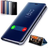 Espejo de cuero Flip caso de teléfono para Samsung Galaxy A10 A20 A20E A30 A40 A50 A60 A70 A80 A90 M10 M20 M30 S10 S10E S9 S8 Plus