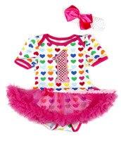 Sevgililer Sıcak Pembe Gökkuşağı Kalp Bodysuit Pembe Sparkle 1ST Bebek Elbise Month MAJSA0294