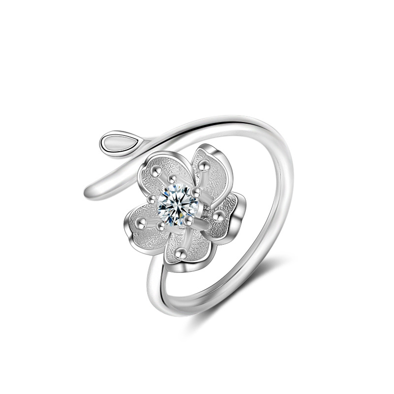 JEXXI Beautiful Lotus Zircon Stone Decoration Jewelry Fashion Sterling Silver Open Finger Rings Christmas Gift Free Shipping