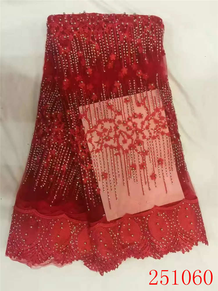 Hot embroidered mesh lace fabric 5yards on sale ,French net lace fabric with stones and beads for african women dreses