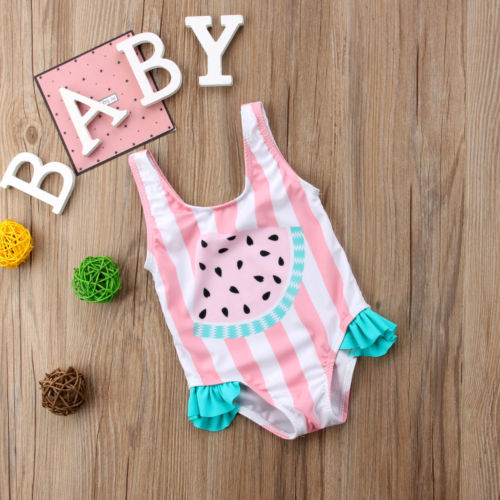 Cute Toddler Baby Girls Watermelon Swimsuit Swimwear Swimming One-piece Bikini Swimwear biotechnical