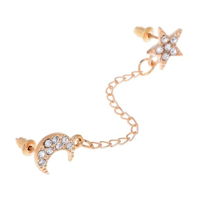 2017 Limited Sale Star Rhinestone Trendy Zinc Alloy Women Earings Brincos 1 Two Piercing Ear Cuff Ring Chain Double Earring 4