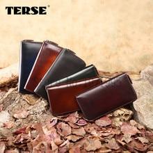 TERSE Men Leather Wallet Business Long Purses leather Wallet Zipper 6 Color Luxury Wallet OEM Service handmade genuine leather