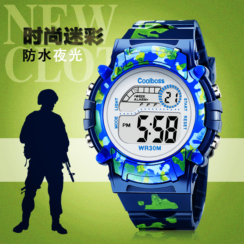Military Navy Blue Children's Watch Kids LED Digital Wristwatch Brave Faith Boy Girl Alarm Clock Baby Gift For Student 3-13 Age