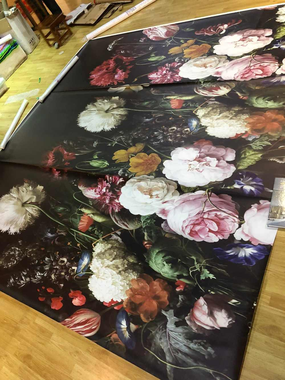 Bacaz Black Bottom Large Papel Murals 3d Rose Flower Wallpaper For Bedroom Sofa Background 3d Photo Murals 3d Flower Stickers