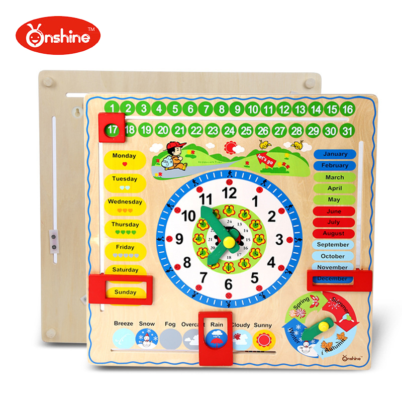 Baby Kids Early Toy Children Wooden Multifunction Calendar Clock Puzzle Toys Perceive Educational Toy Learning Building baby wooden toys multifunctional learning cube puzzle round beads abacus frame baby educational toys for children