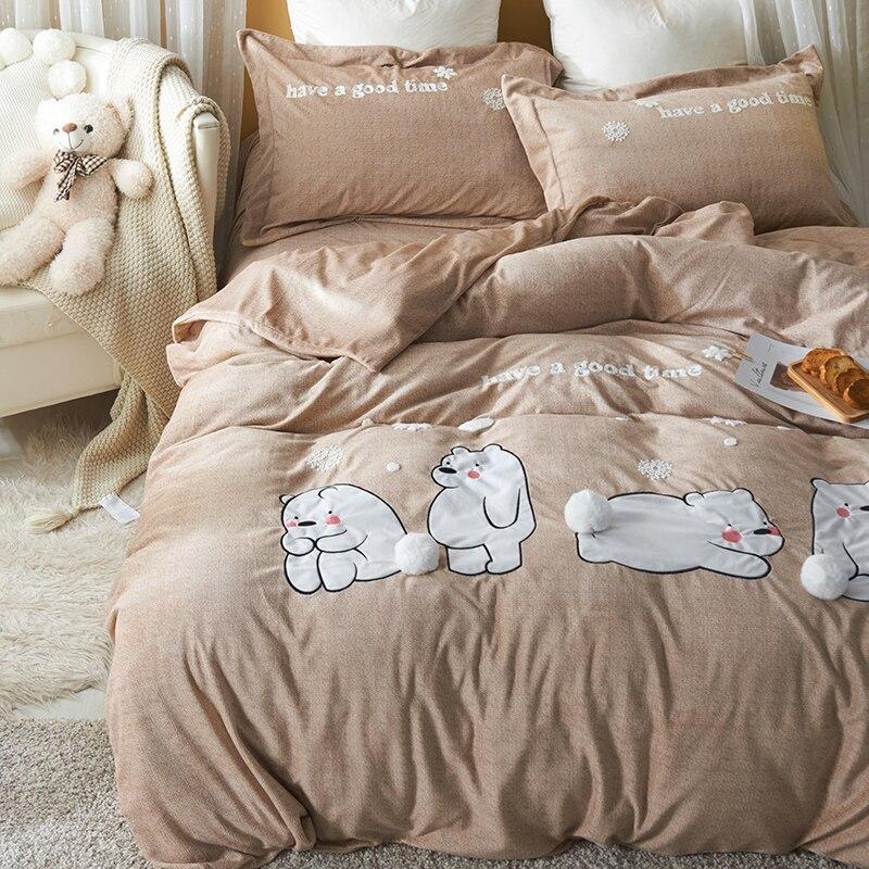 Luxe lapin flanelle Cartoon Bears ensembles de literie polaire hiver chaud belles boules housse de couette drap de lit double reine taille 3/4 pièces