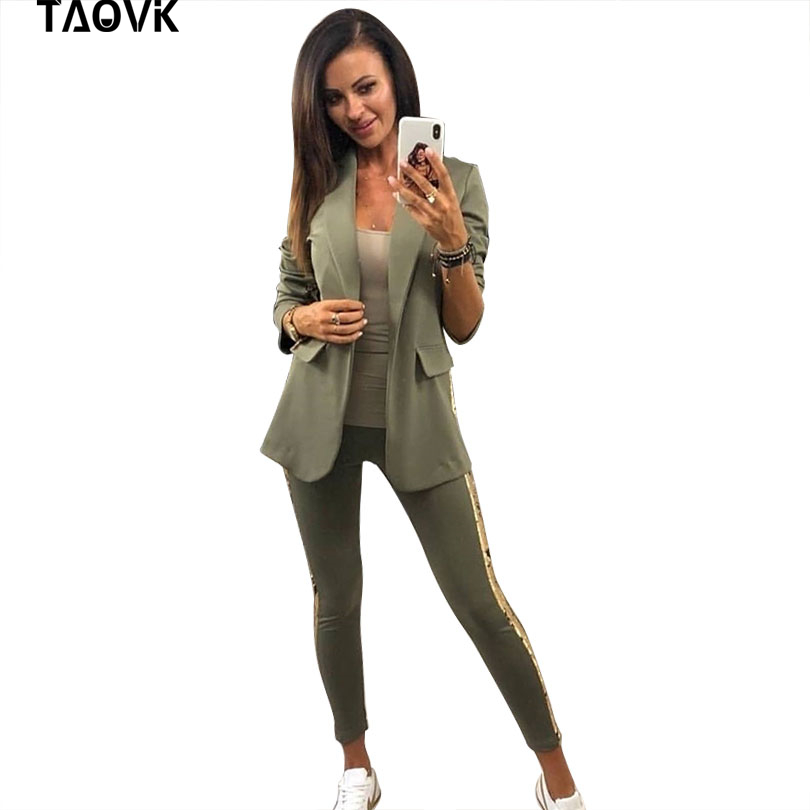 TAOVK Spring Autumn Women Tracksuit Side Sequins Patchwork 2 Piece Set Turn down Collar Blazer Jacket