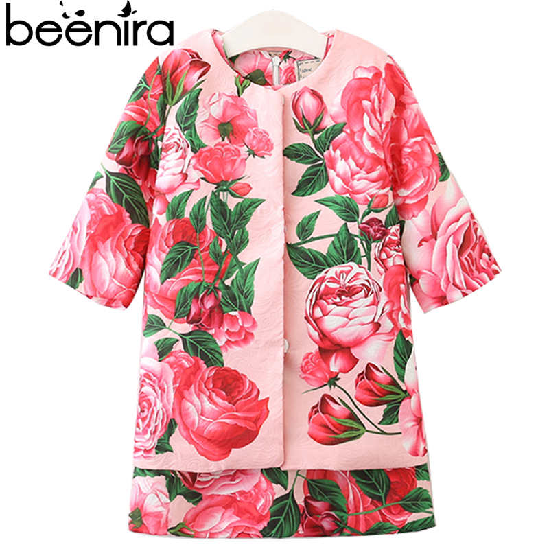 Beenira Girls Clothing Sets 2017 New Summer Rose Print Dress+ Coat 2Pcs Suit Brand Kids Clothes European and American Style 3-8Y стоимость