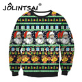 2017 New Year Lovers Matching Clothes Christmas Sweatshirts O-neck Santa Claus Printing Men Pullovers Christmas Clothing M L XL