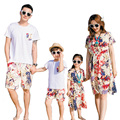 2017 Summer Family clothing Mother Daughter dresses woman girl dress father son Sets short sleeve T shirt & Pants Floral