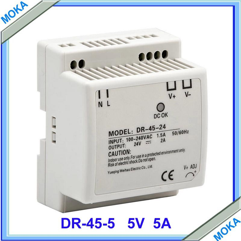 Factory supply free shipping CE approved 45W 5V Din Rail Single Output Switching power supply 24v 1 7a 40w ce approved mini din rail single output switching power supply mdr 40 24