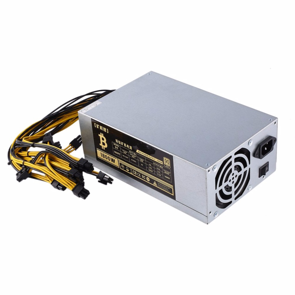 1800W High-efficiency 10x6 Pin Miner Power Supply for 6 GPU Bitcoin Antminer S9 S7 L3+ D3 T9 E9 A4 A6 A7 with 2 Cooling Fans new max 1850w miner mining power supply 6 pin for antminer coin btb s9 s7 a7 a6 l3 r4 high quality computer power supply for btc