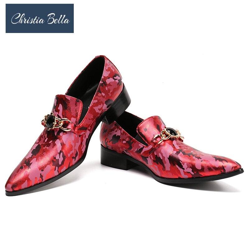 Christia Bella marque Designer nouveau haut de gamme Camouflage impression hommes chaussures de luxe mode hommes mocassins avec chaîne de gemme hommes appartements