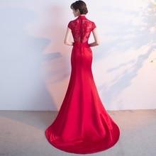Купить с кэшбэком Toast Serve Bride 2018 New Fashion Sexy Full Dress Fashion Long Fund Fish Tail Self-cultivation Marry Small Evening Dress Woman