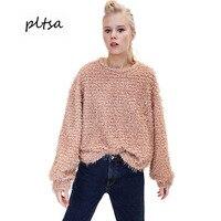 Pltsa Lady S Sweater 2017 Winter New Fluffy Casual Ladies Sweater Round Collar Sweater S M