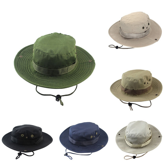 2b376c812a1 Aliexpress.com   Buy Adjustable Outdoor Camping Climbing Cap 2018 Solid Men  Women Fishing Bucket Hat Boonie Hunting Cap Brim Military Army GN  M28 from  ...